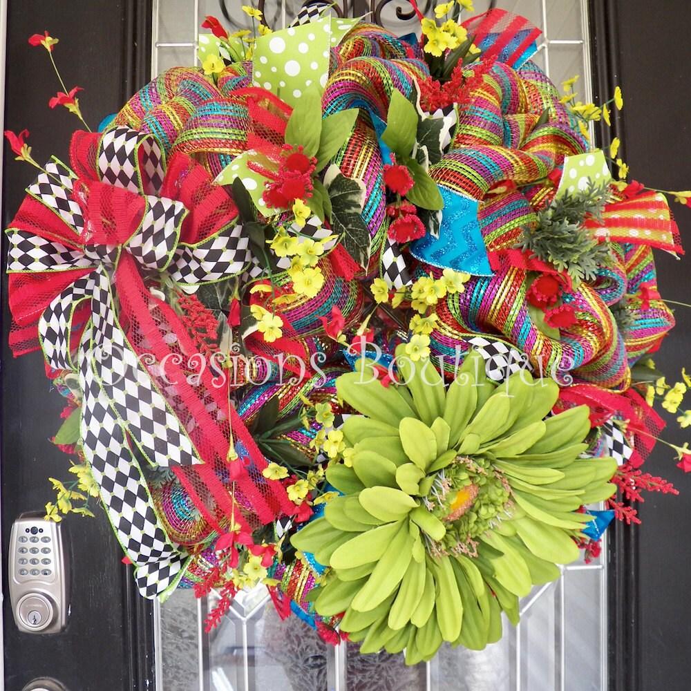 Spring Wreath Summer Wreath Front door wreath Floral
