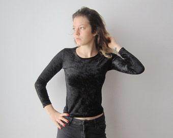 Black Velvet Shirt Long Sleeve Velvet Top Womens Velvet Party Blouse Extra Small to Small Sized Velvet Bodycon Shirt