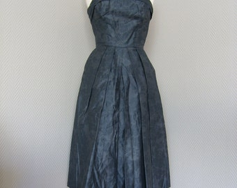 50s Grey Party Swing Dress