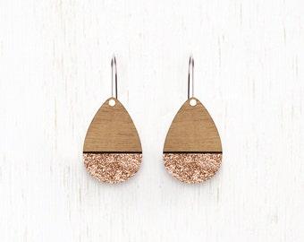 SMALL Rainsong - Teardrop Wood Earrings - laser cut - Rose gold glitter