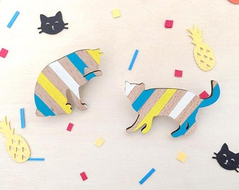 Wooden cat brooch - Turquoise yellow stripes hand painted on eco-friendly beech wood