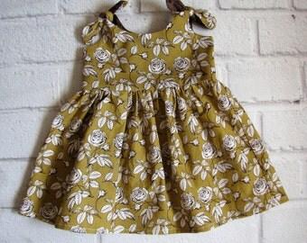 Yellow Baby Dress, Boho Baby Dress, Vintage Style Girls Dress, Newborn Dress, Infant Dress, Mustard Yellow Baby Dress, Retro Baby Dress