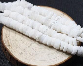 8Pcs, Stalactite Druzy Short Cylinder Beads -- clear white rock,column,tube,rondelle jewelry dainty beads CQA-046,YHA