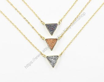 Druzy Necklaces -- Druzzy Choker Electroplated Gold Edge Drusy Jewelry Geode Bridesmaid Gift Necklaces dainty CQA-049