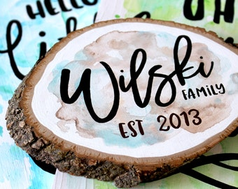 SMALL SIZE, Family Sign, Wood Sign   Anniversary Gift - Wood Slice - Custom Family Sign - Watercolor Sign - Rustic Sign - Gift for Her