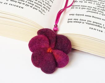 Needle Felted Wool Bookmark Violet Pansy Flower Sculpture Christmas Valentines Mother's Day Present Decoration Miniature Collection