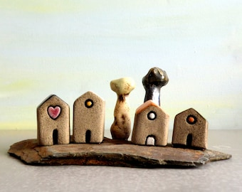 Miniature houses, Clay and stone, Small houses, Home decor, Clay houses, Office decor, Housewarming gift, For him, Dolls & miniatures, Cute
