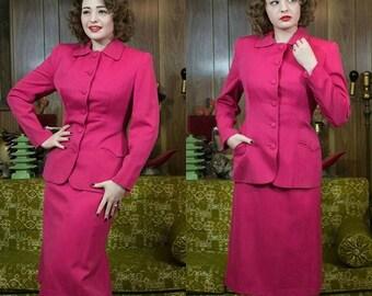 1950s Gaberdine Suit | Hot Pink Suit | 50s Suit | 1950s Suit | 50s Pink Suit | Gaberdine | Pink Gab | Schiaparelli Pink | 50s Gab Suit | 26