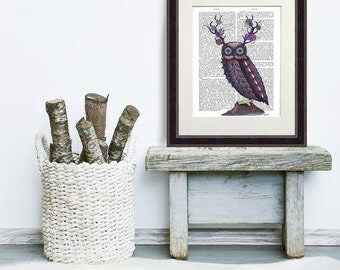 Owl print - Owl with Psychedelic Antlers - Owl décor Owl art Owl gifts owl home décor Owl illustration Owl Nursery décor owl nursery art