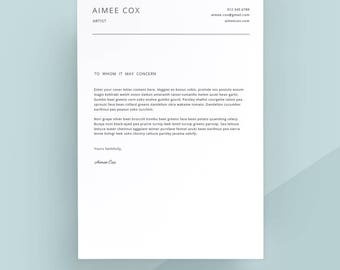 Simple Cover Letter Template, Cover Letter, Letterhead, Word Template, Simple  Cover Letter  Simple Cover Letter Template