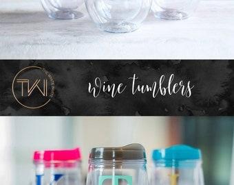 Bridesmaid Gift - Bridesmaid Tumbler - Stemless Wine Tumbler - Bev2Go -Custom Personalized Monogrammed Tumbler