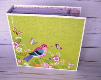 Premade Scrapbook Album Spring Mini Album Birds and Butterflies Scrapbook Album, Bird Scrapbook Mother's Day Gift, for Mom, Bird Lover Gift