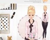 Watercolor Planner Girl Avatar. Premade Fashion Illustration. Handdrawn Blonde. Blog Logo. Journal Stickers Erin Condren. Pink. Fashionista.