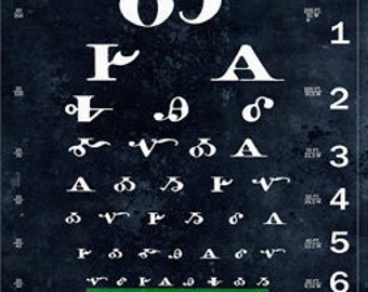 For CHELSEY:  UPGRADE from Fine Art Print to Canvas Hanging Print, Cherokee Syllabary Eye Chart