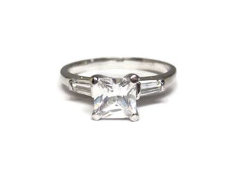 90s Sterling Princess Cubic Zirconia Engagement Ring Size 9