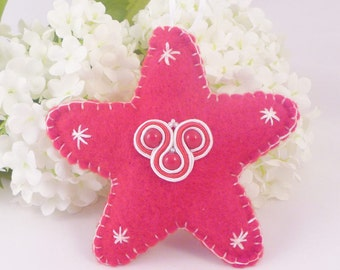 Red star home decor. Hanging nursery star. Embroidered soutache and felt home decor. Hand stitched star. Soutache accessory. MollyG Designs