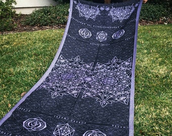 DIVINITY series shawl // Lavender/Black/Purple // Festival Shawl with Sacred Geometry and Third-eye Chakra
