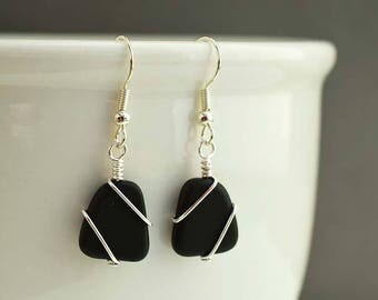 Black sea glass earrings sea glass jewelry seaglass sterling silver jewelry handmade jewelry for women beaded jewelry frosted glass beads