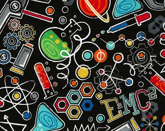 Science Fabric; You Choose Size; C5707; Timeless Treasures; Novelty Fabric; DNA, E=MC2, Science Equipment, Beakers, Symbols; Teacher Fabric