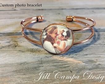 Photo Bracelet, ROSE GOLD cuff bracelet, custom photo bracelet, personalized photo bracelet, photo jewelry, photo gifts, picture bracelet