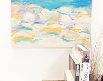 Sky art, sky painting, whimsical art, whimsy art, modern nursery art, colorful abstract art