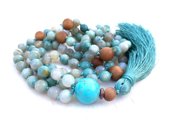 Agate Knotted Mala Necklace, Silk Tassel Mala Beads, Aqua Blue And Sandalwood Mala, 108 Bead Stone Mala, Yoga Meditation Beads