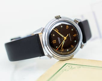 First soviet automatic watch Rodina (Motherland) – mid century watch mens – mechanical leather watch – gift for him USSR 50s