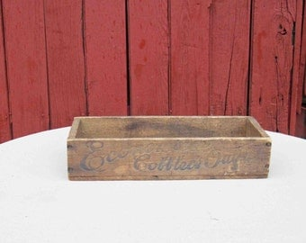 """Economical Cobblers Outfit Wooden Primitive Box 13"""" Advertising Wood Crate"""