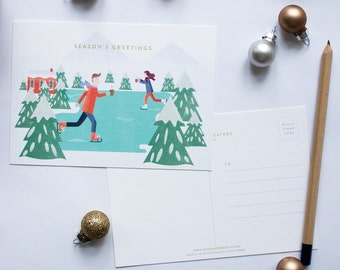 Christmas Skaters Postcards Pack Of 10