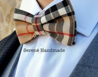 Brown tartan bow tie, men bow tie, light brown bow tie, tartan fantasy, self tie bow tie or pre tied, gift for him her, brow, red, black