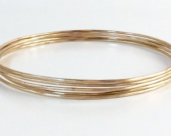 14K SOLID gold bangle set of (5) - five hammered 14k gold bangles - 18 gauge (1.02mm) each - Hallmarked 14K