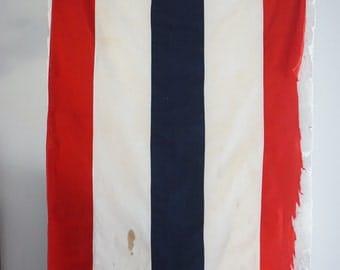 Vintage Flag - Red, White and Blue Flag - Striped Nautical Flag