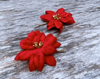 SALE! Set of two poinsettia flower clips perfect for the holidays, hair barrettes with red and gold flowers, comes in sets of two!