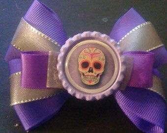 Sugar Skulls (Silver and Purple), Sugar Skulls Bottle Cap Hair Bow