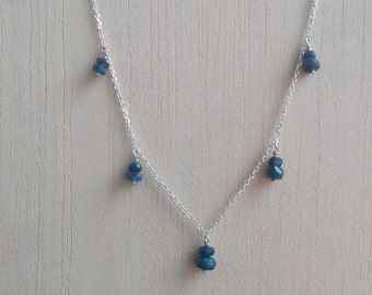 Natural Sapphire And Silver Handmade Necklace Jewelry
