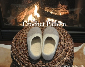 Warmest Wool Felted Slippers CROCHET PATTERN (Adult small, medium, large sizes) - Roving