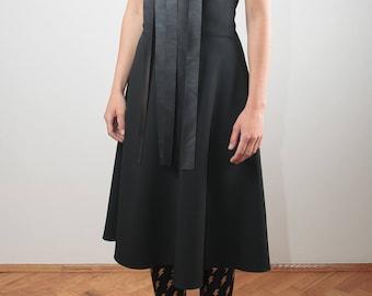 black extravagant dress/ unique dress/ oversized dress/ short sleeve dress/ midi dress/ unique dress