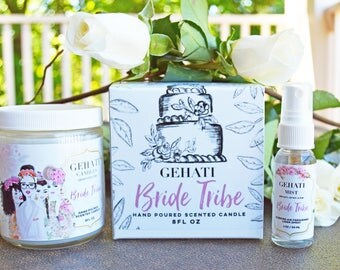Bridesmaid Gift Set, Scented Soy Candle, Fruity White Candle, Room Spray, Bridal Shower Decoration Gift, Maid of Honor Gift, Wedding Favors