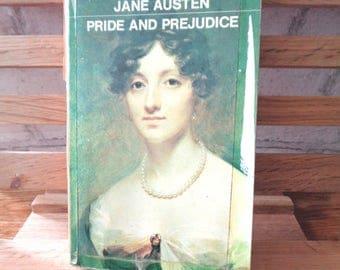 Vintage paperback book Pride and Prejudice Jane Austen fiction book historical satire romance novel of manners Mr Darcy Elizabeth Bennet