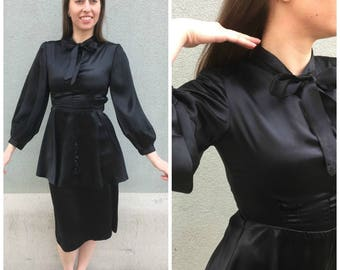 Vintage Classic 1940s Black Satin with Peplum & Tie at Neck Evening Dress Small 34-26-41 Extra Small