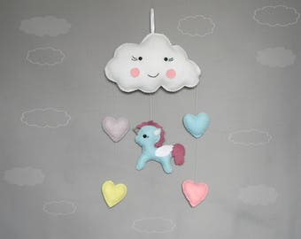 Pegasus Baby Mobile Happy cloud mobile Cloud wall handing mobile Felt heart mobile Rainbow Nursery Decor Modern nursery cloud Pony mobile