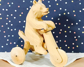Vintage Hand Carved Russian Wooden Wood Bear on a Bicycle Movable Push Toy