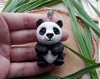 Panda bear necklace pendant jewelry, panda totem, panda handmade of clay, women's men's jewelry, animal totem jewelry, panda bear figurine