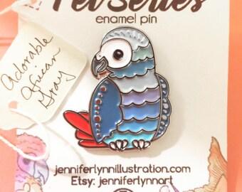 African Grey Parrot Enamel Pin - Pet Series