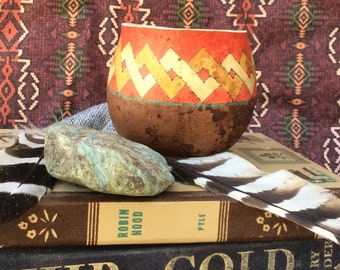 Chain of Fire decorative gourd, painted gourd, decorative bowl