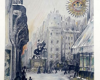 Place des Victoires, original Paris poster, vintage ad France King Louis XIV equestrian statue French lithograph, 1928 history poster