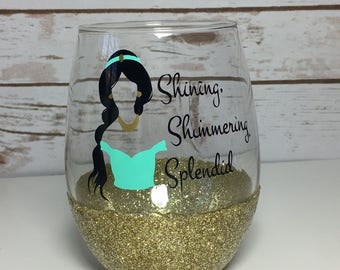 Disney/ Aladdin/ Princess/ Jasmine/ Glitter/ Wine Glass/ Makeup Brush Holder/ Pen Holder/ Gold/ Glitter Wine Glass/ Arabian Nights/ Sparkle