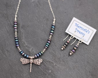 Dragonfly Necklace - Raven Freshwater Pearls, Sterling Silver. Earrings Optional.