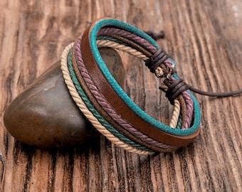 Leather Bracelet, Mens Bracelet, Hemp Bracelet, Men's Leather Bracelet, Women's Leather Braclet JLA-17