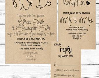 Rustic Wedding Invitations, Custom Wedding Invitation, We Do Wedding Invitation, Printable Wedding Invitation, Wedding Invitations Rustic
